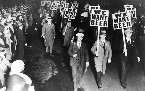 We want beer. parade in Manhattan during prohibition, 1932.